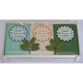 Three Mirovolos soaps with mastic in a wooden crate