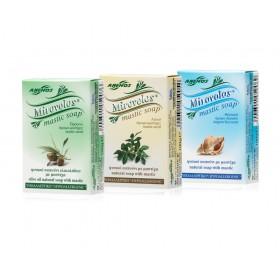 3 natural Mirovolos soaps with mastic